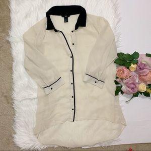 H&M   Cream sheer buttons down shirt
